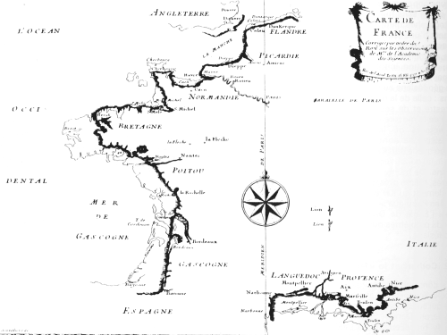 Map showing both old and new French coastlines