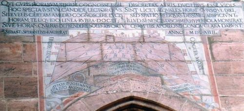 Sundial on the St Lorenz Church Nürnberg