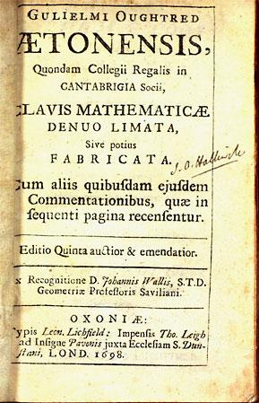 Title page Clavis Mathematicae 5th ed 1698  Ed John Wallis