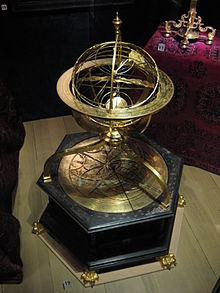 Jost Bürgi and Antonius Eisenhoit: Armillary sphere with astronomical clock made 1585 in Kassel, now at Nordiska Museet in Stockholm. Source Wikimedia Commons