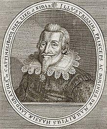 Kupferstich mit dem Porträt Moritz von Hessen-Kassel aus dem Werk Theatrum Europaeum von 1662 Source: Wikimedia Commons