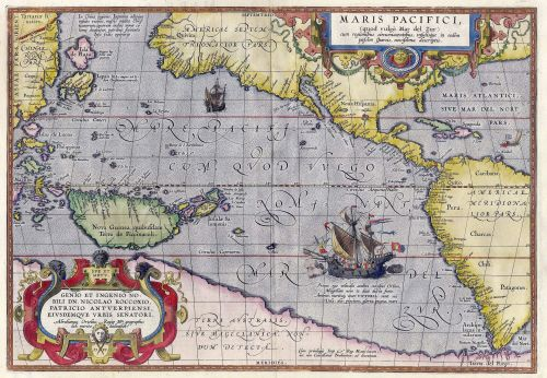 Maris Pacifici, 1589, the first dedicated map of the Pacific to be printed Source: Wikimedia Commons