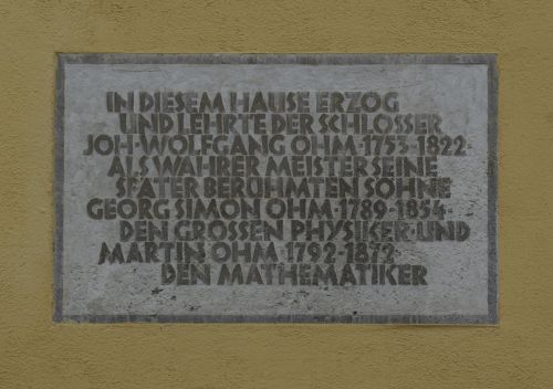 Plaque on the Ohm House