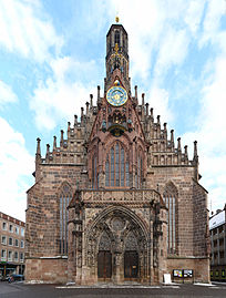 The Frauenkirche Nürnberg our view during supper yesterday evening Source Wikimedia Commons