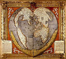 Oronce Finé's World Map using a cordiform projection Source: Wikimedia Commons