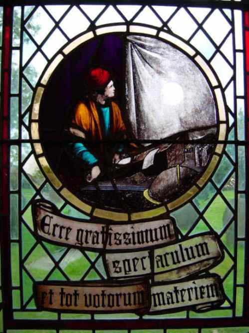 "Stained glass roundel memorial in Much Hoole Church to Jeremiah Horrocks making the first observation and recording of a transit of Venus in 1639. The Latin reads ""Ecce gratissimum spectaculum et tot votorum materiem"": ""oh, most grateful spectacle, the realization of so many ardent desires"". It is taken from Horrocks's report of the transit"
