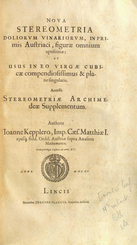 Title page of Kepler's 1615 Nova stereometria doliorum vinariorum (image used by permission of the Carnegie Mellon University Libraries)