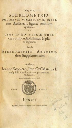 Title page of Kepler's 1615 Nova stereometria doliorum vinariorum (image used by permission of the Carnegie Mellon University Libraries)