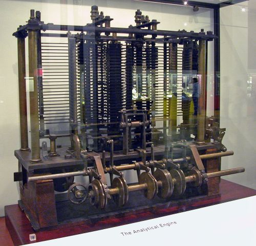 Trial model of a part of the Analytical Engine, built by Babbage, as displayed at the Science Museum (London). Source: Wikimedia Commons