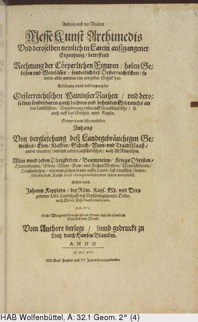 Ausszug auss der Vralten Messkunst Archimedis title page Source