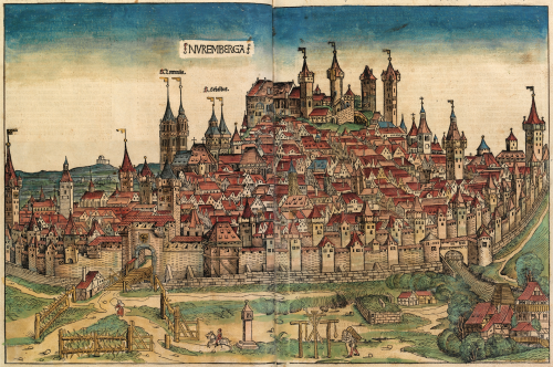 Stromer's paper mill in the Nuremberg Chronicle of 1493. The building complex is at the lower right corner, outside the city perimeter. Source: Wikipedia Commons