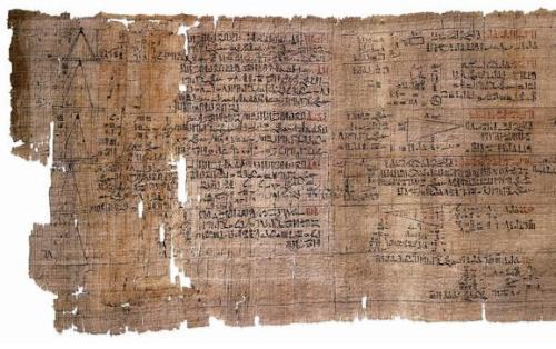 Rhind Mathematical Papyrus : detail (recto, left part of the first section) Thebes, End of the Second Intermediate Period (c.1550 BC) Source: Wikimedia Commons
