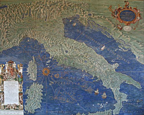 Map of Italy, Corsica and Sardinia - Gallery of Maps - Vatican Museums. Source: Wikimedia Commons