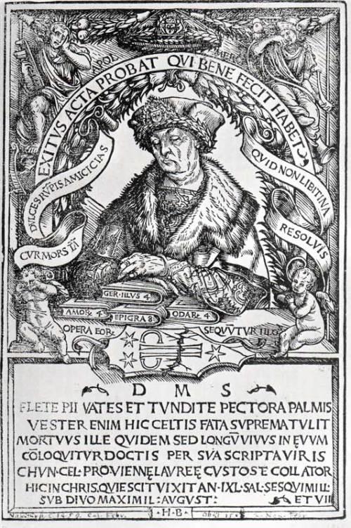 Conrad Celtis: Gedächtnisbild von Hans Burgkmair dem Älteren, 1507 Source: Wikimedia Commons