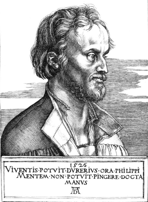 Melanchthon in 1526: engraving by Albrecht Dürer Translation of Latin caption: «Dürer was able to draw Philip's face, but the learned hand could not paint his spirit». Source: Wikimedia Commons