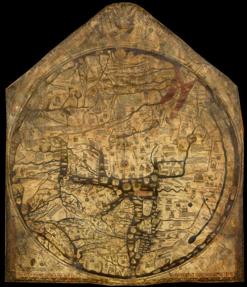 The Hereford Mappa Mundi, about 1300, Hereford Cathedral, England. Source: Wikimedia Commons