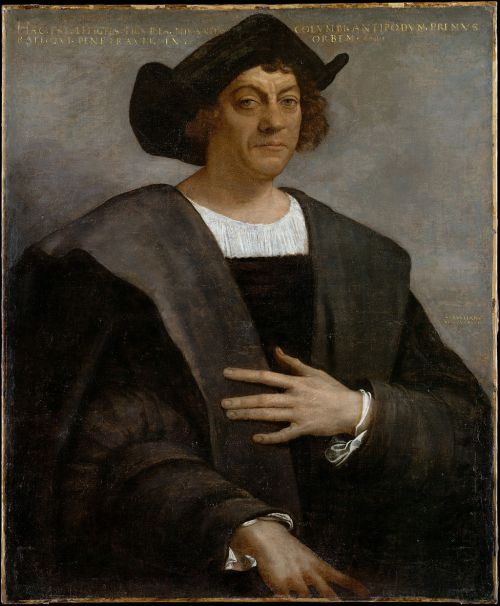 Posthumous portrait of Christopher Columbus by Sebastiano del Piombo, 1519. There are no known authentic portraits of Columbus. Source: Wikimedia Commons