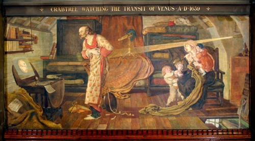 """Crabtree watching the Transit of Venus A.D. 1639"" by Ford Madox Brown, a mural at Manchester Town Hall. Source: Wikimedia Commons"
