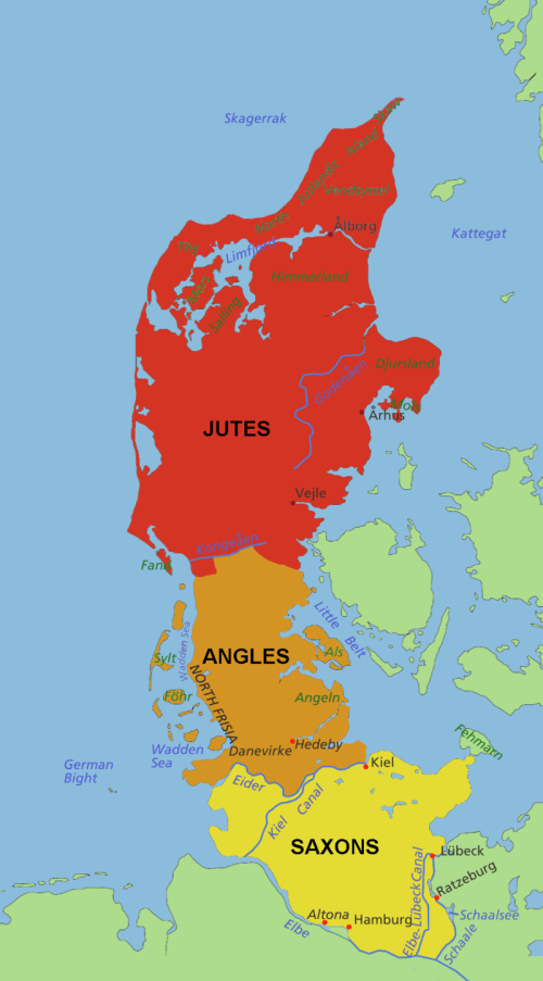 Possible locations of the Angles, Saxons and Jutes before their migration to Britain. Source: Wikimedia Commons
