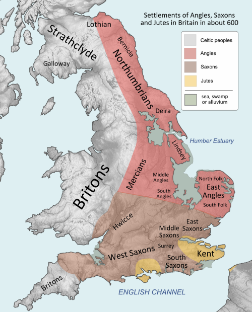 Angles, Saxons and Jutes throughout England Source: Wikimedia Commons
