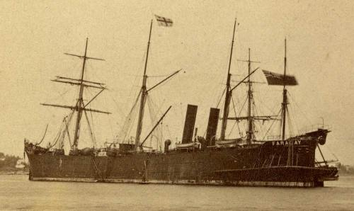 The Faraday, cable laying ship of Siemens Brothers & Co. 1874 Source: Wikimedia Commons