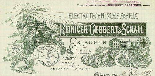 Reiniger Gebiert & Schall Letterhead 1896 Source: Wikimedia Commons
