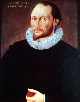 Portrait often claimed to be Thomas Harriot (1602), which hangs in Oriel College, Oxford. Source: Wikimedia Commons
