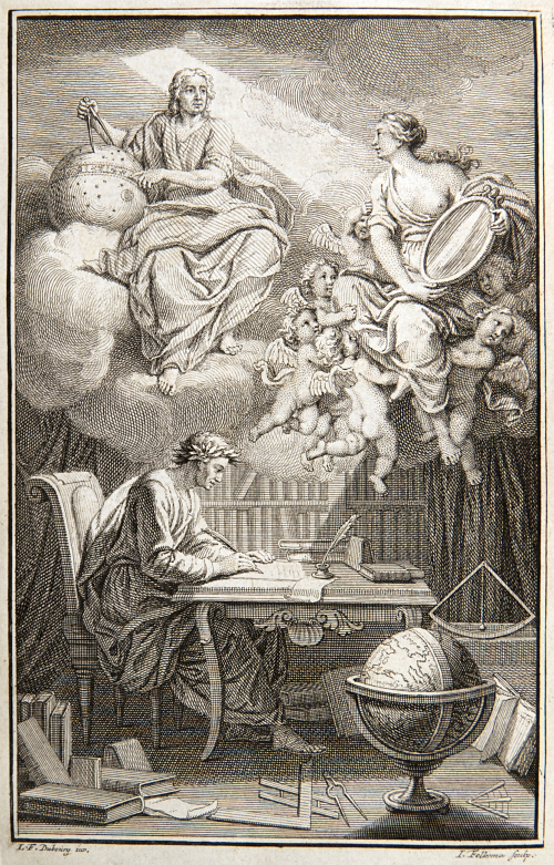 In the frontispiece to Voltaire's book on Newton's philosophy, du Châtelet appears as Voltaire's muse, reflecting Newton's heavenly insights down to Voltaire. Source: Wikimedia Commons