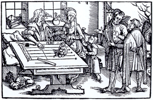Rechentisch/Counting board (engraving probably from Strasbourg) Source: Wikimedia Commons
