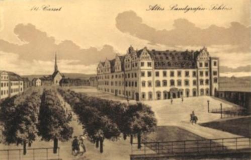 Landgrafenschloss-altes_Stadtschloss_Kassel_AK_Litho_nach-Gemälde-zw-1567-1806_um_1800