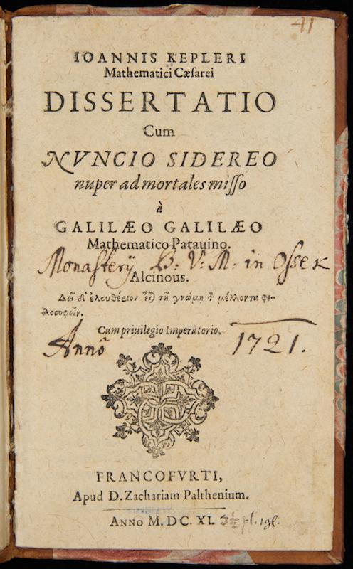 Johannes Kepler, Dissertatio cum Nuncio sidereo… (Frankfurt am Main, 1611)