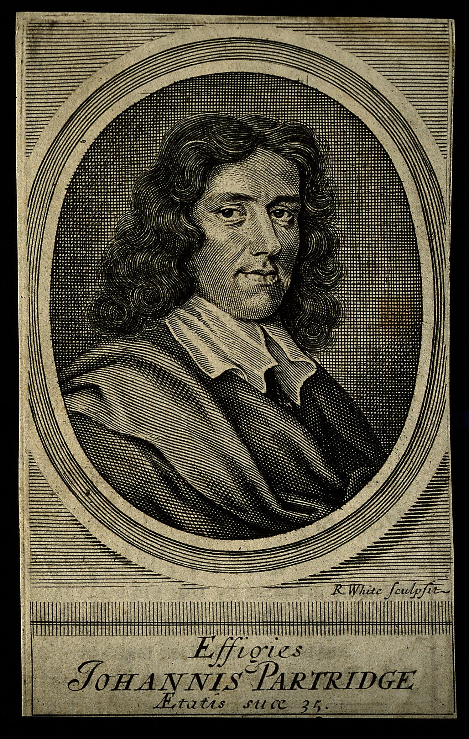 V0004503ER John Partridge. Line engraving by R. White, 1682, after hims